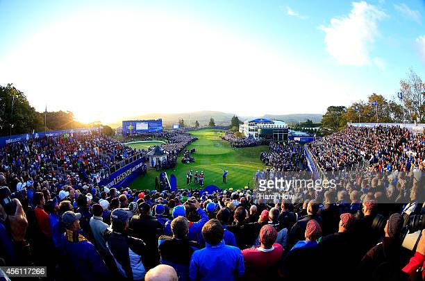 Henrik Stenson of Europe tees off on the 1st hole during the Morning Fourballs of the 2014 Ryder Cup on the PGA Centenary course at the Gleneagles...