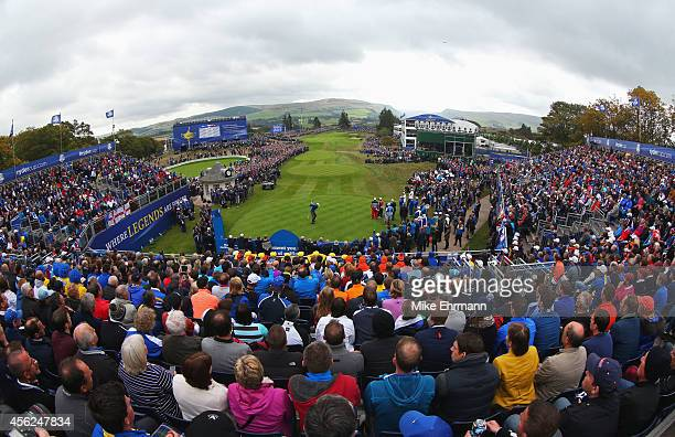 Henrik Stenson of Europe tees off on the 1st hole during the Singles Matches of the 2014 Ryder Cup on the PGA Centenary course at the Gleneagles...