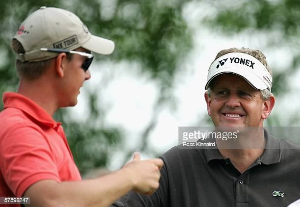 Henrik Stenson of Sweden and Colin Montgomerie of Scotland on the par five 17th hole during the second round of The Quinn Direct British Masters...