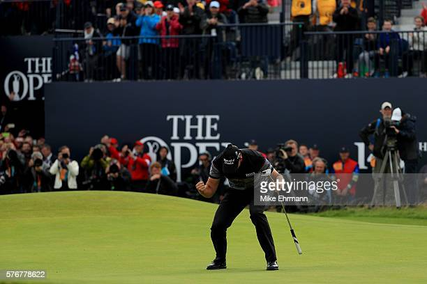 Henrik Stenson of Sweden celebrates victory after the winning putt on the 18th green during the final round on day four of the 145th Open...