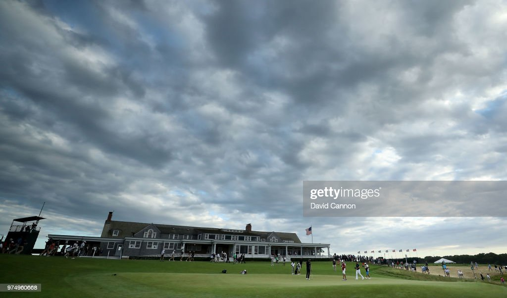 Henrik Stenson of Sweden finishes his round on the ninth green during the first round of the 2018 US Open at Shinnecock Hills Golf Club on June 14, 2018 in Southampton, New York.