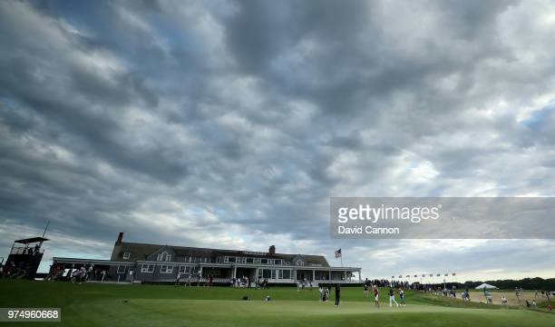 Henrik Stenson of Sweden finishes his round on the ninth green during the first round of the 2018 US Open at Shinnecock Hills Golf Club on June 14...