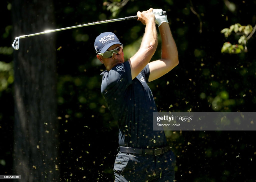 Henrik Stenson of Sweden hits a tee shot on the second hole during the final round of the Wyndham Championship at Sedgefield Country Club on August 20, 2017 in Greensboro, North Carolina.