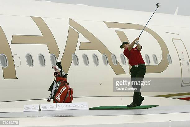 Henrik Stenson of Sweden hits his longest drive of 721 yards during the 'Etihad Airways Swing on the Wing Challenge' while standing on a Eitihad...