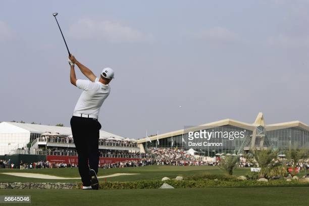 Henrik Stenson of Sweden hits his second to the 18th during the final round of the Abu Dhabi Golf Championship on The National Course at Abu Dhabi...