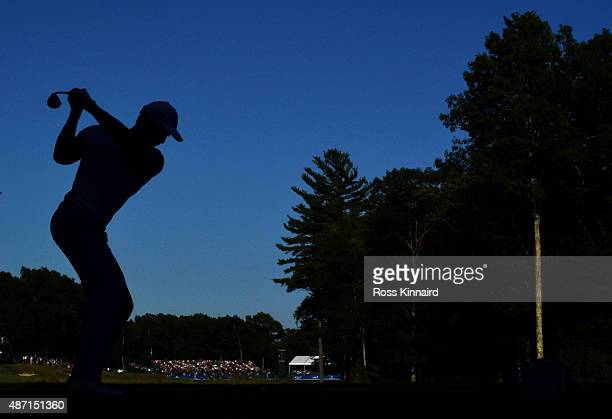 Henrik Stenson of Sweden hits his tee shot on the 18th hole during round three of the Deutsche Bank Championship at TPC Boston on September 6, 2015...
