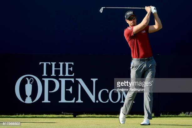 Henrik Stenson of Sweden hits his tee shot on the 1st hole during a practice round prior to the 146th Open Championship at Royal Birkdale on July 18,...