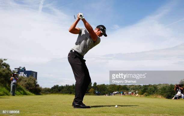 Henrik Stenson of Sweden hits his tee shot on the 3rd hole during the final round of the 146th Open Championship at Royal Birkdale on July 23 2017 in...