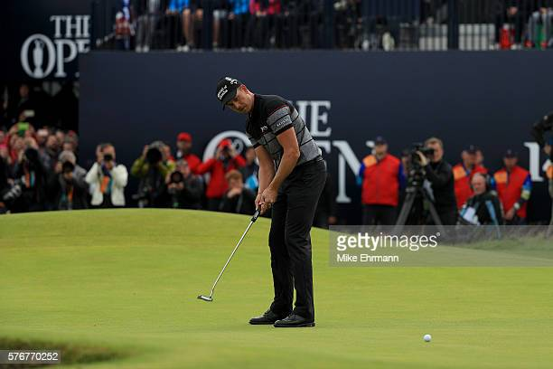 Henrik Stenson of Sweden hits the winning putt during the final round on day four of the 145th Open Championship at Royal Troon on July 17 2016 in...
