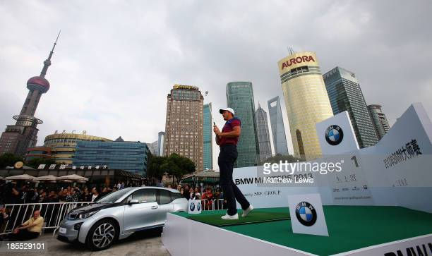 Henrik Stenson of Sweden in action during the 'Nearest the Pin' competition at Binjang Avenue on October 22 2013 in Shanghai China