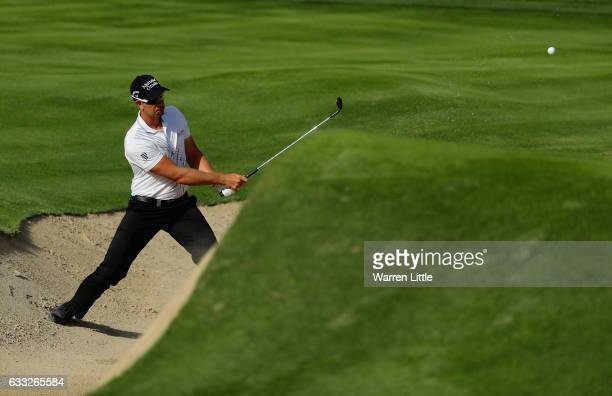Henrik Stenson of Sweden in action during the proam ahead of the Omega Dubai Desert Classic at Emirates Golf Club on February 1 2017 in Dubai United...