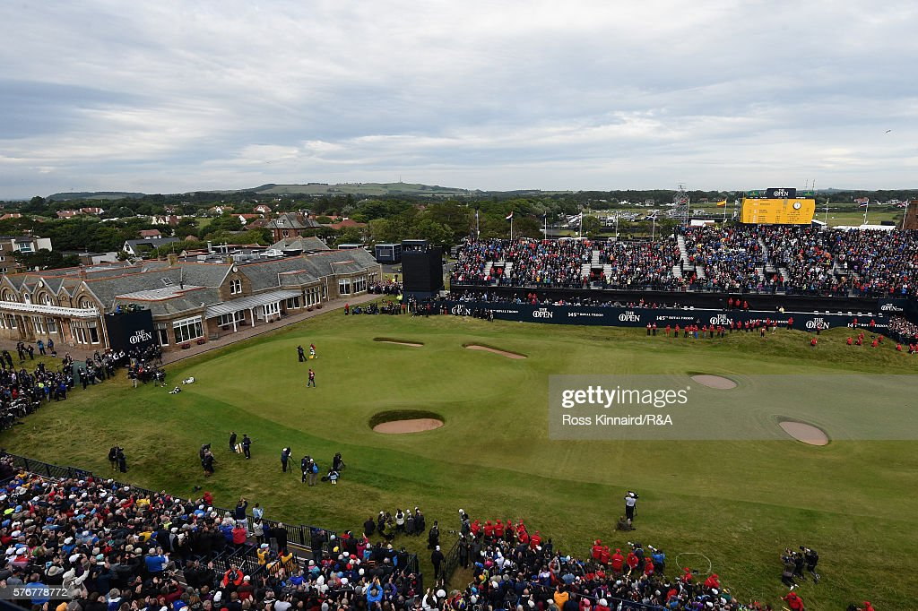 Henrik Stenson of Sweden is congratulated by Phil Mickelson of the United States on the 18th green after his victory during the final round on day four of the 145th Open Championship at Royal Troon on July 17, 2016 in Troon, Scotland.