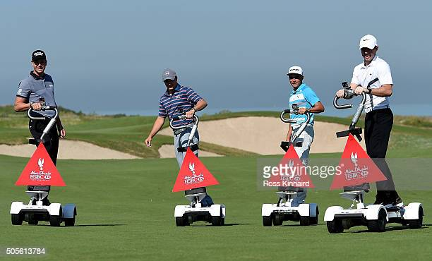 Henrik Stenson of Sweden Jordan Spieth of the United States Jordan Spieth of the United States and Rory McIlroy of Northern Ireland pictured riding a...