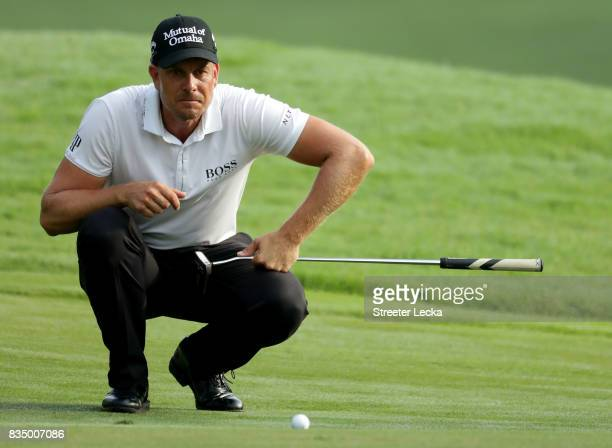 Henrik Stenson of Sweden lines up a putt on the 11th during the second round of the Wyndham Championship at Sedgefield Country Club on August 18 2017...