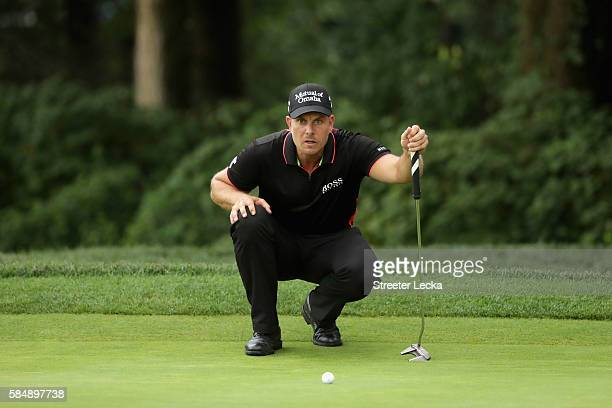 Henrik Stenson of Sweden lines up a putt on the eighth green during the final round of the 2016 PGA Championship at Baltusrol Golf Club on July 31...