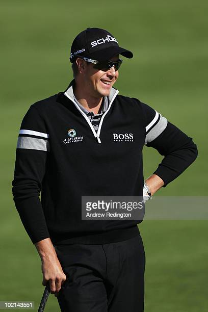 Henrik Stenson of Sweden looks on during a practice round prior to the start of the 110th US Open at Pebble Beach Golf Links on June 16 2010 in...
