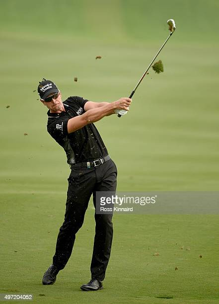 Henrik Stenson of Sweden on the par five 3rd hold during the final round of the BMW Masters at Lake Malaren Golf Club on November 15 2015 in Shanghai...