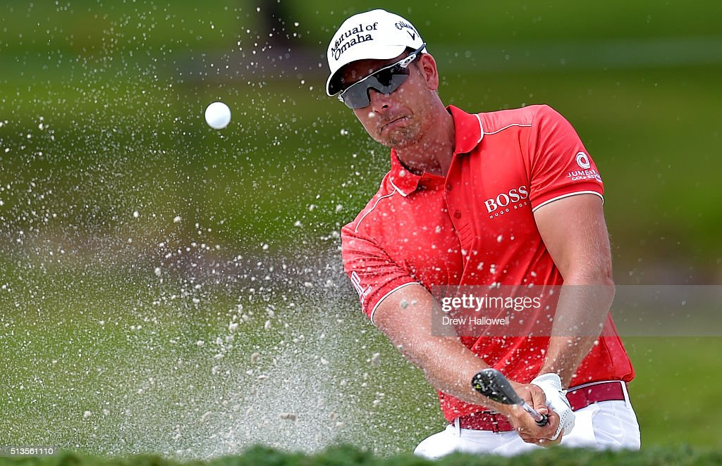 Henrik Stenson of Sweden out of the bunker on the third hole during the first round of the World Golf Championships-Cadillac Championship at Trump National Doral Blue Monster Course on March 3, 2016 in Doral, Florida.