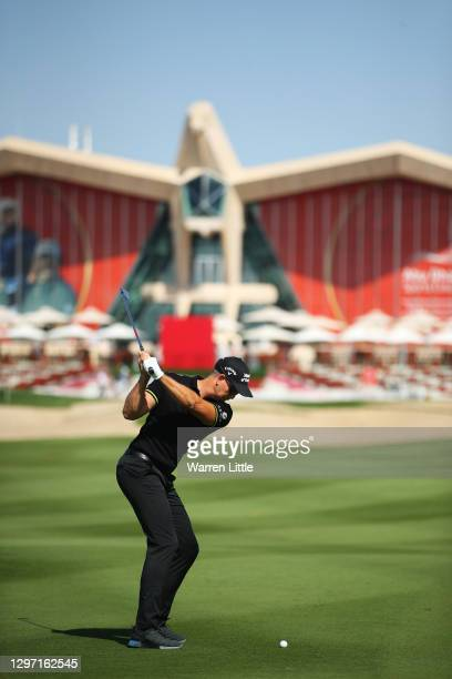 Henrik Stenson of Sweden plays a shot during practice ahead of the Abu Dhabi HSBC Championship at Abu Dhabi Golf Club on January 19, 2021 in Abu...