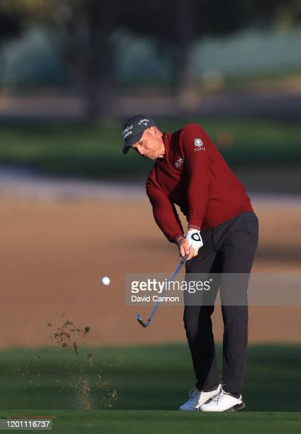 Henrik Stenson of Sweden plays a shot during the pro-am as a preview for the Omega Dubai Desert Classic on the Majlis Course at The Emirates Golf...