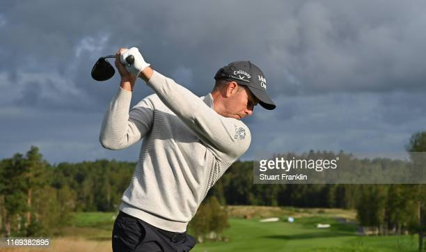 Henrik Stenson of Sweden plays a shot during the proam prior to the start of the Scandinavian Invitation at The Hills Golf and Sports Club on August...