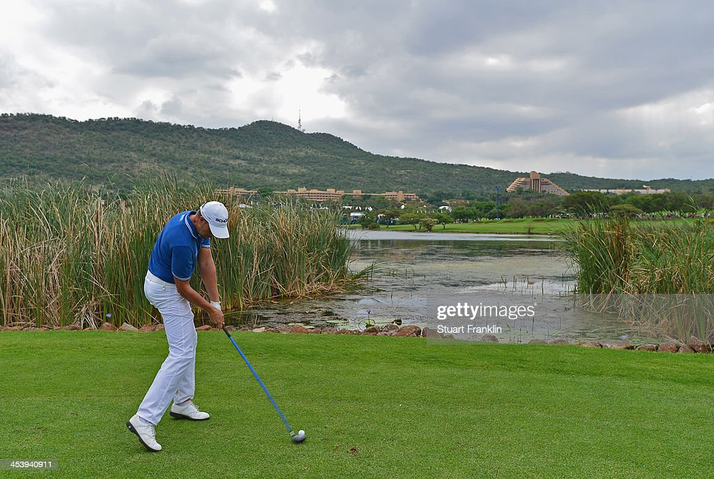 Henrik Stenson of Sweden plays a shot during the second round of the Nedbank Golf Challenge at Gary Player CC on December 6, 2013 in Sun City, South Africa.