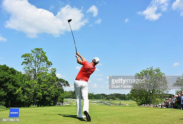 Henrik Stenson of Sweden plays a shot during the second round of the Nordea Masters at Bro Hof Slott Golf Club on June 3, 2016 in Stockholm, Sweden.
