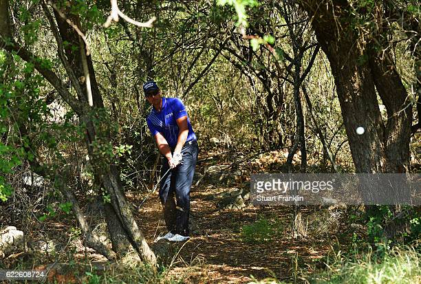 Henrik Stenson of Sweden plays a shot during the third round of The Nedbank Golf Challenge at Gary Player CC on November 12 2016 in Sun City South...