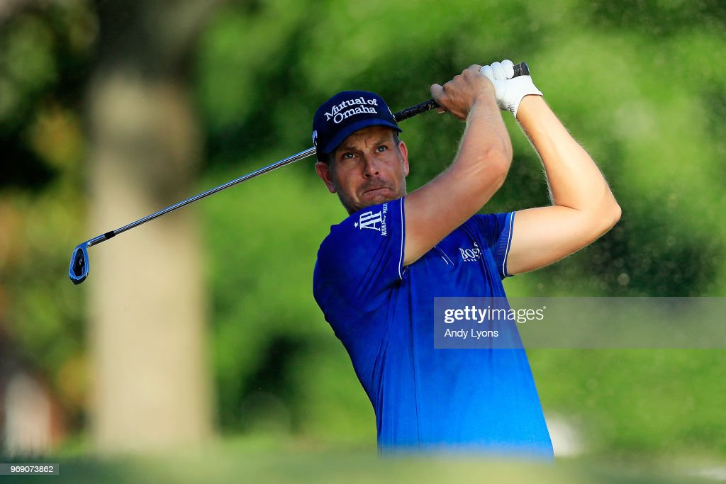 Henrik Stenson of Sweden plays a shot from a bunker on the tenth hole during the first round of the FedEx St. Jude Classic on June 7, 2018 in Memphis, Tennessee.