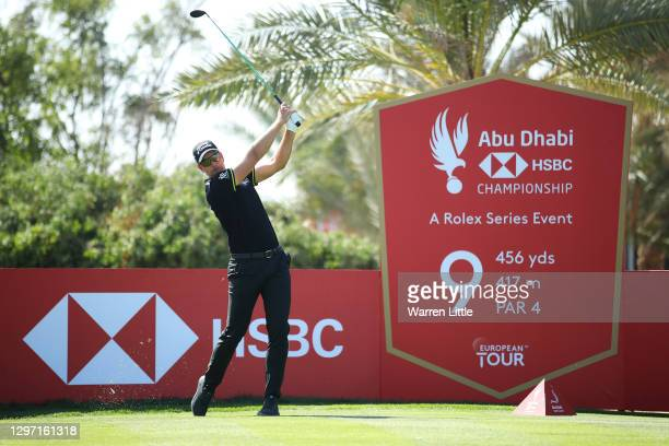 Henrik Stenson of Sweden plays a shot from the 9th tee during practice ahead of the Abu Dhabi HSBC Championship at Abu Dhabi Golf Club on January 19,...