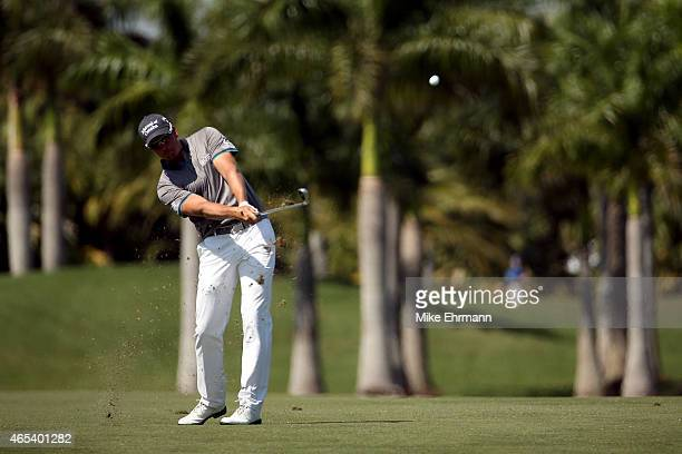 Henrik Stenson of Sweden plays a shot on the sixth hole during the second round of the World Golf ChampionshipsCadillac Championship at Trump...