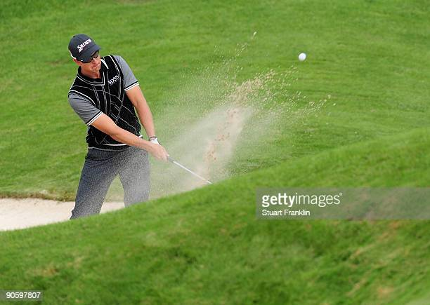Henrik Stenson of Sweden plays his bunker shot on the 13th hole during the second round of The MercedesBenz Championship at The Gut Larchenhof Golf...