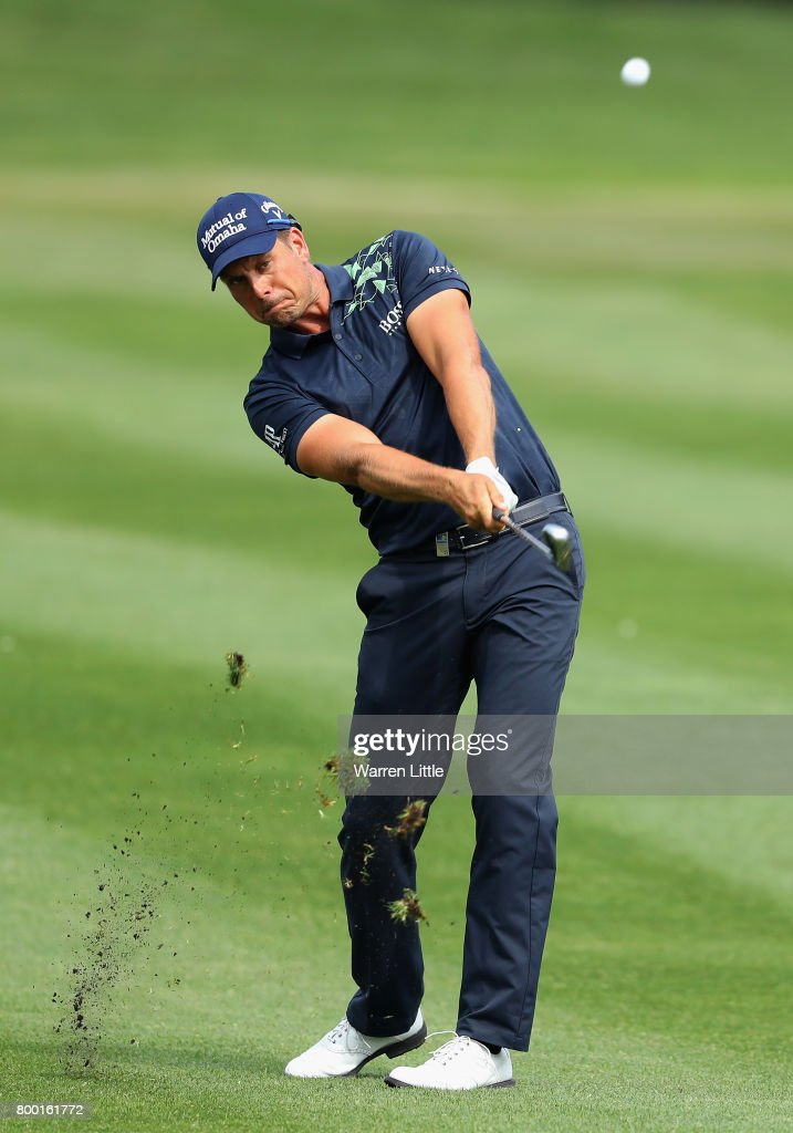 Henrik Stenson of Sweden plays his second shot on the 15th hole during the second round of the BMW International Open at Golfclub Munchen Eichenried on June 23, 2017 in Munich, Germany.