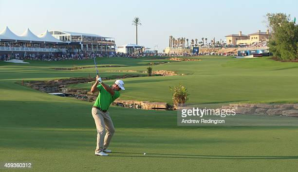 Henrik Stenson of Sweden plays his second shot on the 18th hole during the second round of the DP World Tour Championship at Jumeirah Golf Estates on...