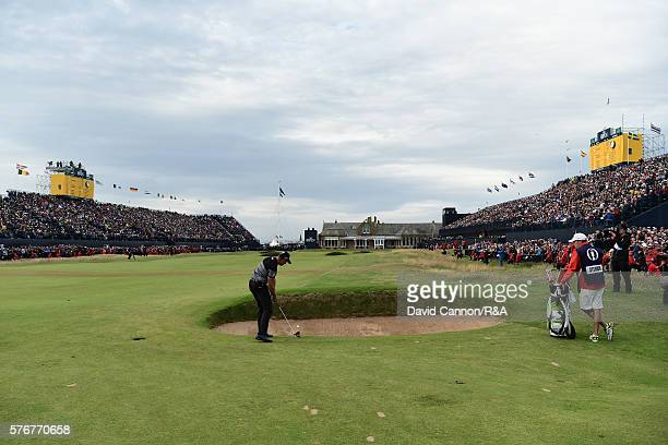 Henrik Stenson of Sweden plays his second shot on the 18th hole during the final round on day four of the 145th Open Championship at Royal Troon on...