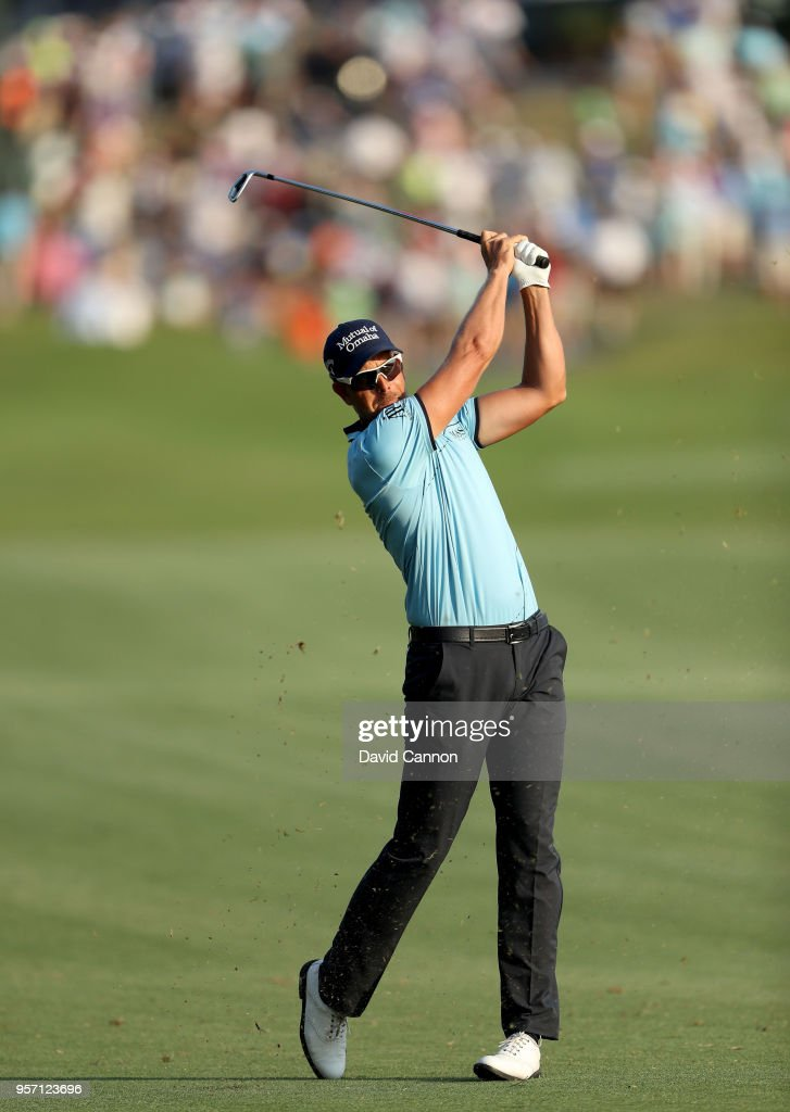 Henrik Stenson of Sweden plays his second shot on the par 4, 18th hole during the first round of the THE PLAYERS Championship on the Stadium Course at TPC Sawgrass on May 10, 2018 in Ponte Vedra Beach, Florida.
