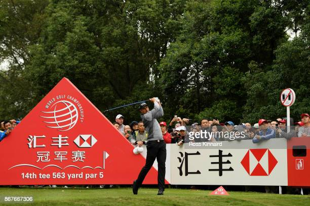 Henrik Stenson of Sweden plays his shot from the 15th tee during the final round of the WGC HSBC Champions at Sheshan International Golf Club on...
