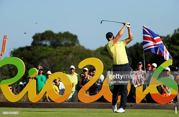 Henrik Stenson of Sweden plays his shot from the 16th tee during the final round of men's golf on Day 9 of the Rio 2016 Olympic Games at the Olympic...