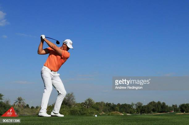 Henrik Stenson of Sweden plays his shot from the 18th tee during round one of the Abu Dhabi HSBC Golf Championship at Abu Dhabi Golf Club on January...