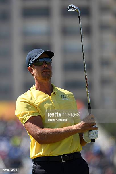 Henrik Stenson of Sweden plays his shot from the eighth tee during the final round of men's golf on Day 9 of the Rio 2016 Olympic Games at the...