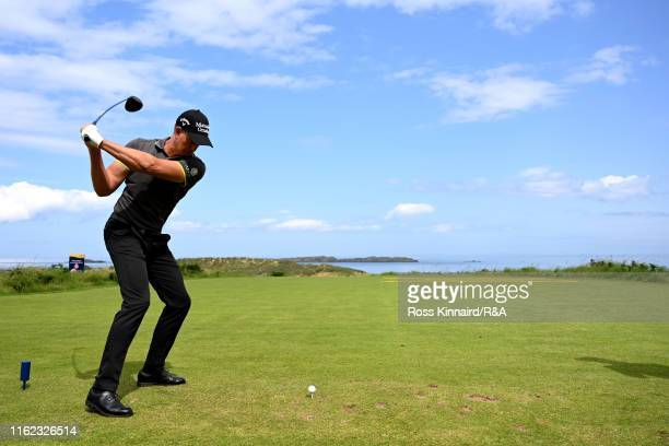 Henrik Stenson of Sweden plays his shot from the fifth tee during a practice round prior to the 148th Open Championship held on the Dunluce Links at...
