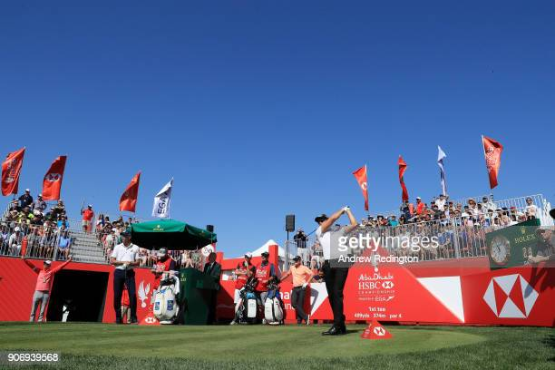 Henrik Stenson of Sweden plays his shot from the first tee during round two of the Abu Dhabi HSBC Golf Championship at Abu Dhabi Golf Club on January...