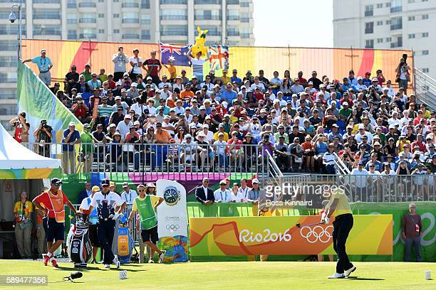 Henrik Stenson of Sweden plays his shot from the first tee during the final round of golf on Day 9 of the Rio 2016 Olympic Games at the Olympic Golf...