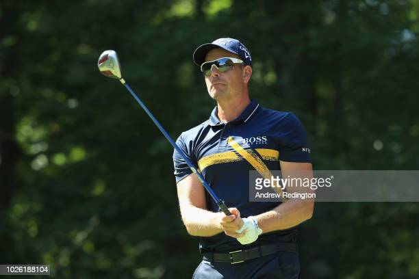 Henrik Stenson of Sweden plays his shot from the second tee during round three of the Dell Technologies Championship at TPC Boston on September 2...