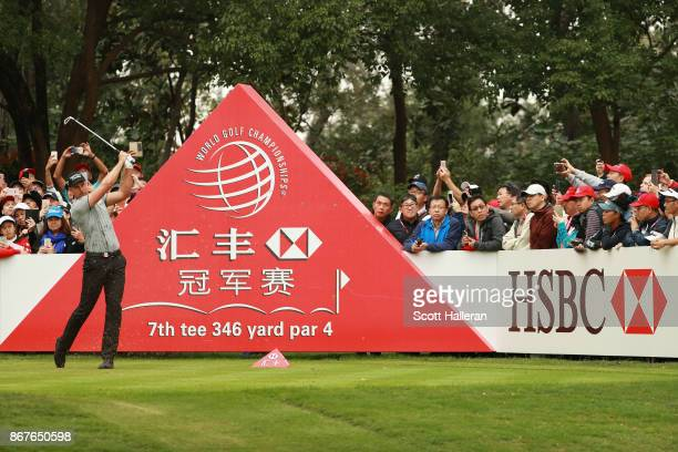 Henrik Stenson of Sweden plays his shot from the seventh tee during the final round of the WGC HSBC Champions at Sheshan International Golf Club on...