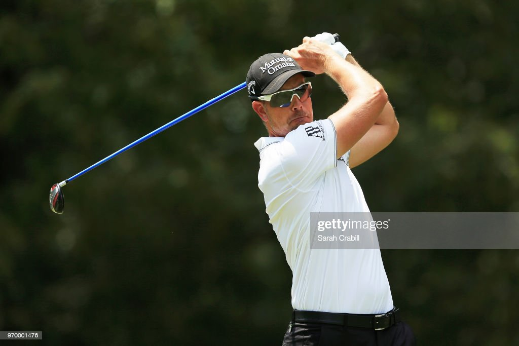 Henrik Stenson of Sweden plays his shot from the seventh tee during the second round of the FedEx St. Jude Classic at at TPC Southwind on June 8, 2018 in Memphis, Tennessee.