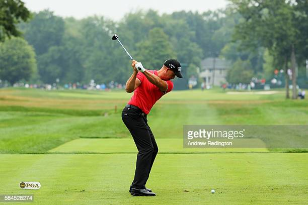 Henrik Stenson of Sweden plays his shot from the tenth tee during the second round of the 2016 PGA Championship at Baltusrol Golf Club on July 29,...