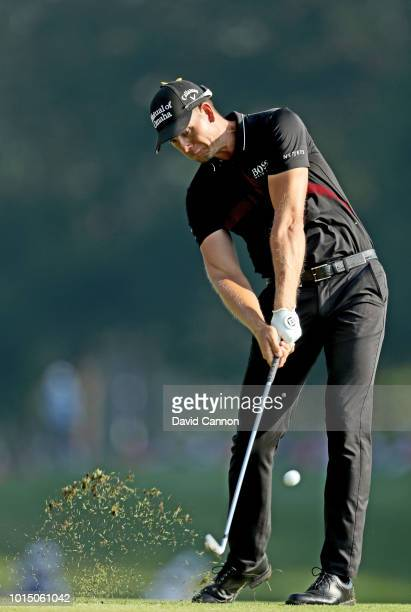 Henrik Stenson of Sweden plays his tee shot on the 16th hole during the completion of the weather delayed second round of the 100th PGA Championship...