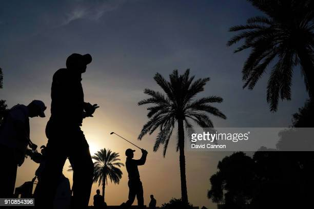 Henrik Stenson of Sweden plays his tee shot on the par 414th hole during the completion of the second round of the Omega Dubai Desert Classic on the...