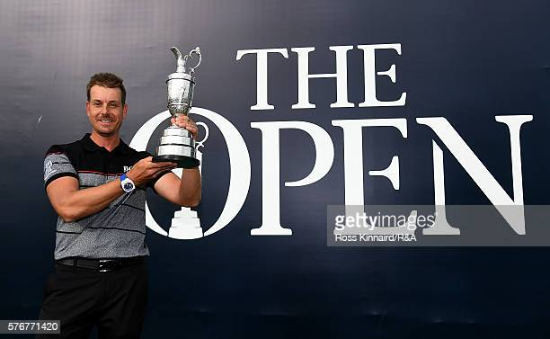 Henrik Stenson of Sweden poses with the Claret Jug following his victory during the final round on day four of the 145th Open Championship at Royal...